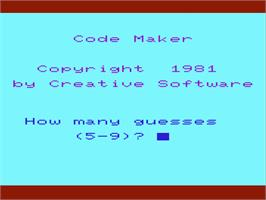 Title screen of FaceMaker on the Commodore VIC-20.
