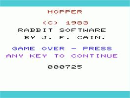 Title screen of Frogger on the Commodore VIC-20.