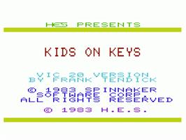 Title screen of Kids on Keys on the Commodore VIC-20.