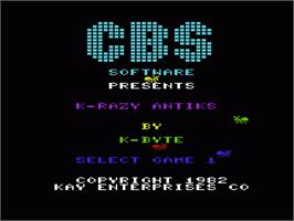 Title screen of Kwazy Kwaks on the Commodore VIC-20.