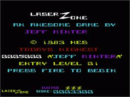Title screen of Laser Zone on the Commodore VIC-20.