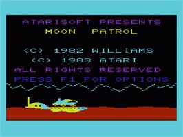 Title screen of Moon Patrol on the Commodore VIC-20.