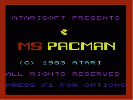 Title screen of Ms. Pac-Man on the Commodore VIC-20.