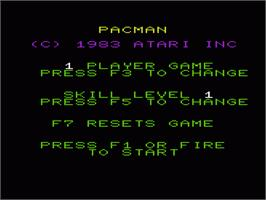 Title screen of Pac-Man on the Commodore VIC-20.