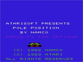 Title screen of Pole Position on the Commodore VIC-20.