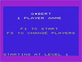 Title screen of Q*bert on the Commodore VIC-20.