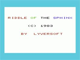 Title screen of Riddle of the Sphinx on the Commodore VIC-20.