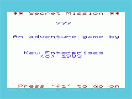Title screen of Secret Mission on the Commodore VIC-20.