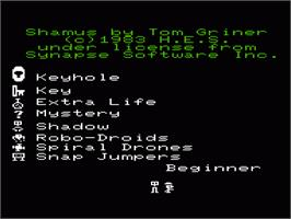 Title screen of Shamus on the Commodore VIC-20.