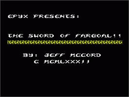Title screen of Sword of Fargoal on the Commodore VIC-20.