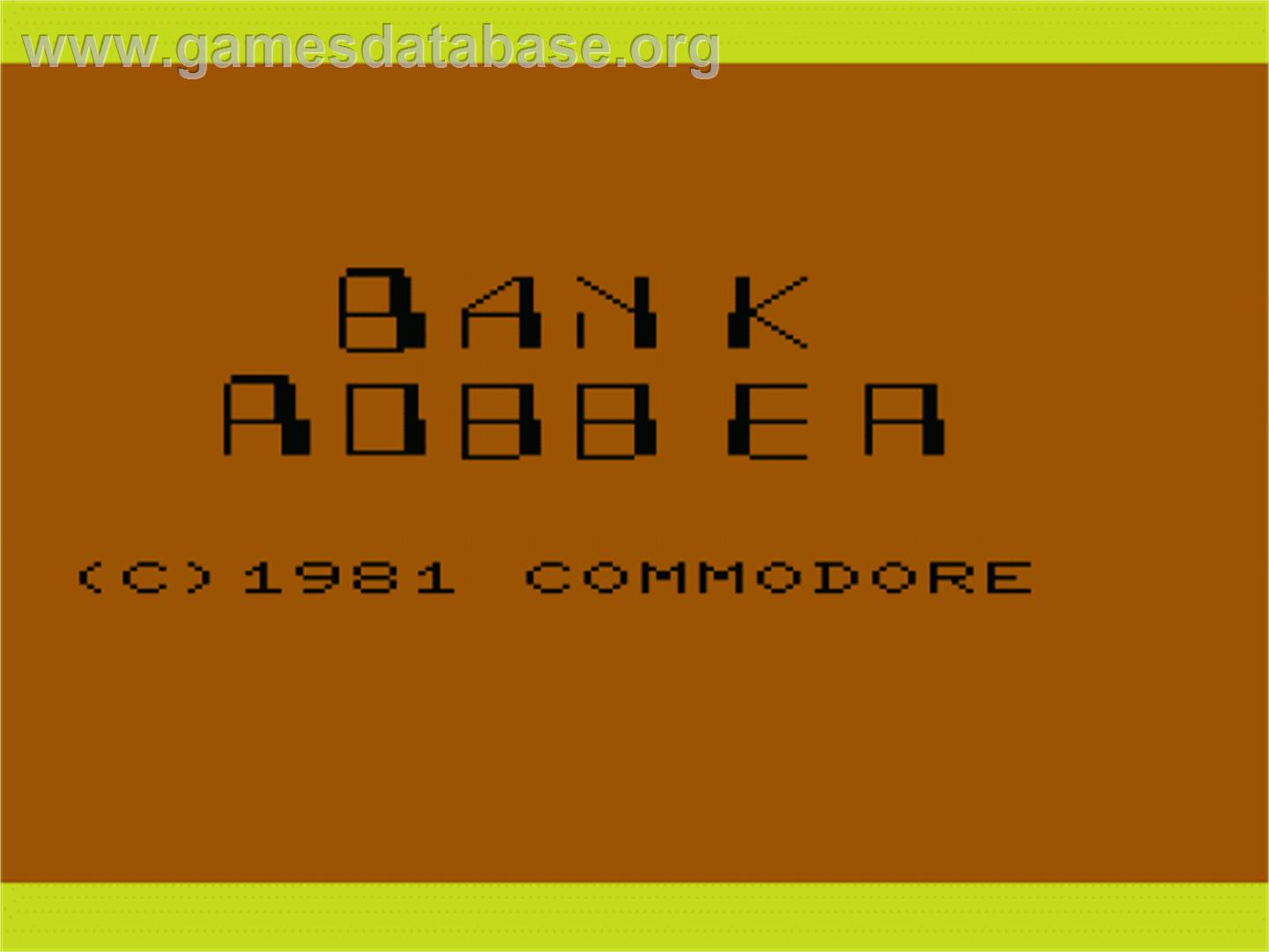 Cops 'n' Robbers - Commodore VIC-20 - Artwork - Title Screen