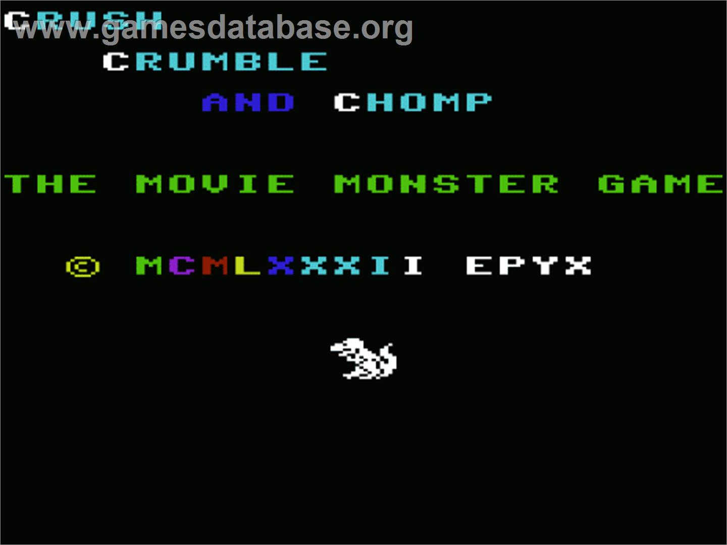 Crush, Crumble and Chomp - Commodore VIC-20 - Artwork - Title Screen