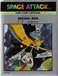 Box cover for Space Attack on the Emerson Arcadia 2001.