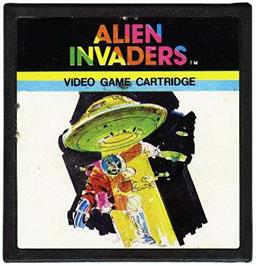 Cartridge artwork for Alien Invaders on the Emerson Arcadia 2001.