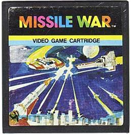 Cartridge artwork for Missile War on the Emerson Arcadia 2001.