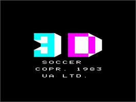 Title screen of 3D Soccer on the Emerson Arcadia 2001.