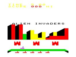 Title screen of Alien Invaders on the Emerson Arcadia 2001.