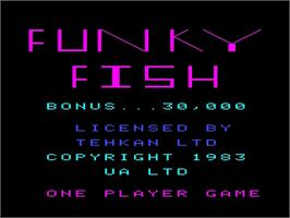 Title screen of Funky Fish on the Emerson Arcadia 2001.