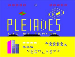 Title screen of Pleiades on the Emerson Arcadia 2001.