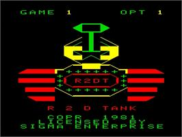 Title screen of R2D Tank on the Emerson Arcadia 2001.