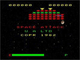 Title screen of Space Attack on the Emerson Arcadia 2001.