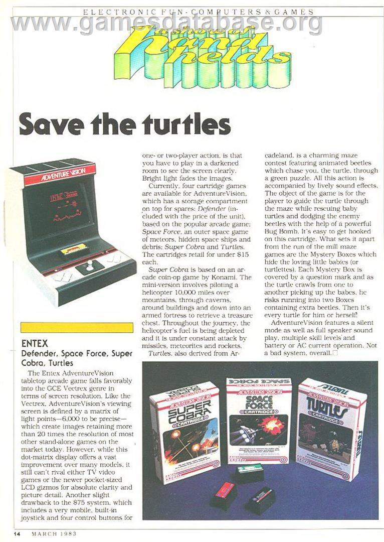 Turtles - Entex Adventure Vision - Artwork - Advert