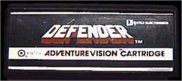 Cartridge artwork for Defender on the Entex Adventure Vision.