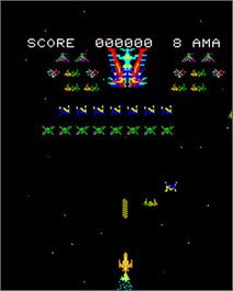 In game image of Astro Wars II - Battle in Galaxy on the Epoch Super Cassette Vision.