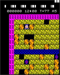 In game image of Boulder Dash on the Epoch Super Cassette Vision.