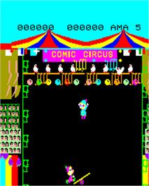 In game image of Comic Circus on the Epoch Super Cassette Vision.