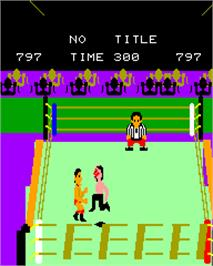 In game image of Pro Wrestling on the Epoch Super Cassette Vision.