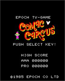 Title screen of Comic Circus on the Epoch Super Cassette Vision.