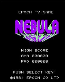 Title screen of Nebula on the Epoch Super Cassette Vision.