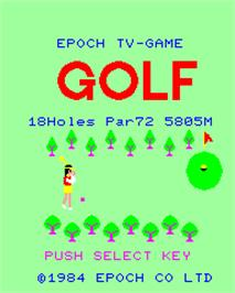 Title screen of Super Golf on the Epoch Super Cassette Vision.