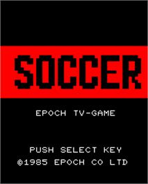 Title screen of Super Soccer on the Epoch Super Cassette Vision.