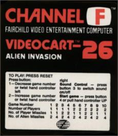 Box cover for Alien Invasion on the Fairchild Channel F.