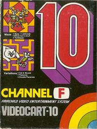 Box cover for Maze, Jailbreak, Blind Man's bluf,f & Trailblazer on the Fairchild Channel F.