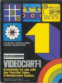Box cover for Tic-Tac-Toe, Shooting Gallery, Doodle, & Quadra-Doodle on the Fairchild Channel F.