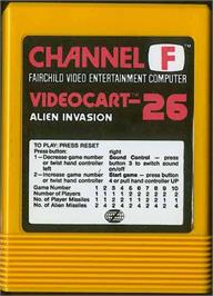 Cartridge artwork for Alien Invasion on the Fairchild Channel F.