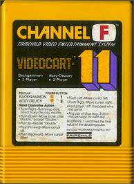 Cartridge artwork for Backgammon & Acey-Ducey on the Fairchild Channel F.