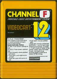 Cartridge artwork for Baseball on the Fairchild Channel F.