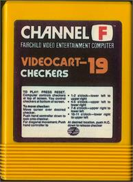 Cartridge artwork for Checkers on the Fairchild Channel F.