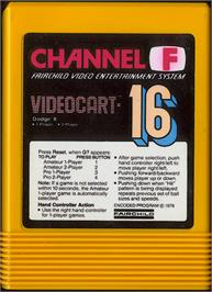 Cartridge artwork for Dodge It on the Fairchild Channel F.