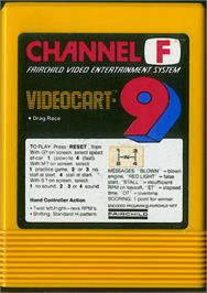 Cartridge artwork for Drag Race on the Fairchild Channel F.