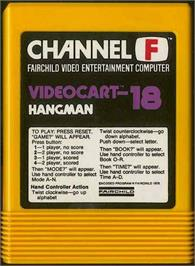 Cartridge artwork for Hangman on the Fairchild Channel F.