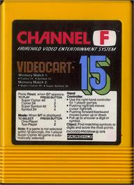 Cartridge artwork for Memory Match 1 & 2 on the Fairchild Channel F.