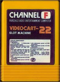 Cartridge artwork for Slot Machine on the Fairchild Channel F.