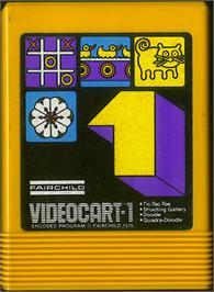 Cartridge artwork for Tic-Tac-Toe, Shooting Gallery, Doodle, & Quadra-Doodle on the Fairchild Channel F.