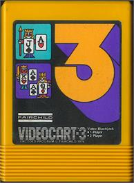 Cartridge artwork for Video Blackjack on the Fairchild Channel F.