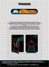Box back cover for 3D Crazy Coaster on the GCE Vectrex.